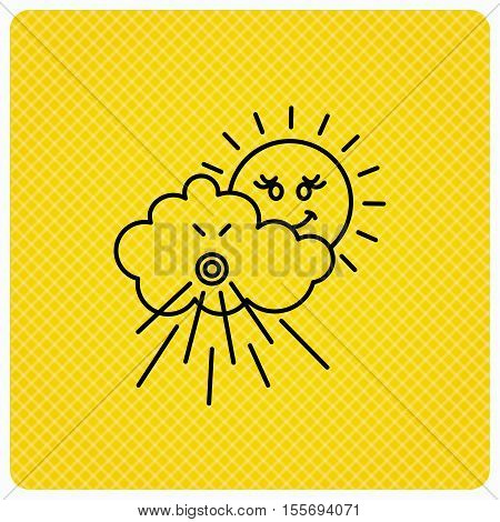 Wind icon. Cloud with sun and storm sign. Strong wind or tempest symbol. Linear icon on orange background. Vector