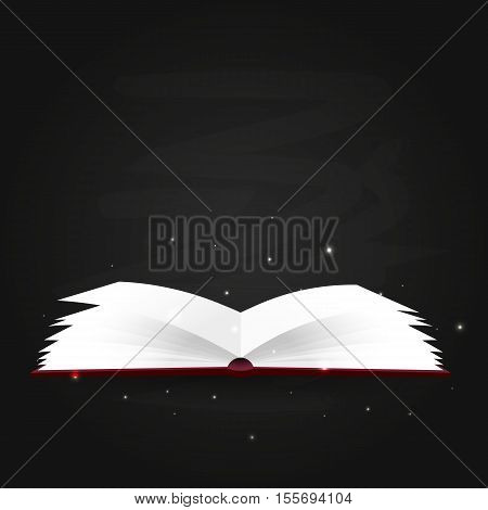 Book Poster. Open Book With Mystic Bright Light On Black Background. Vector Illustration.