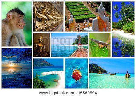 Collage of pictures from the beauty of Thailand poster