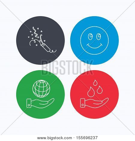 Save water, save planet and slapstick icons. Smiling face linear sign. Linear icons on colored buttons. Flat web symbols. Vector