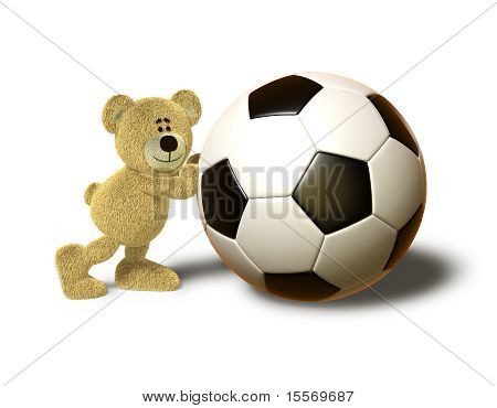 A teddy bear pushes a huge soccer ball with both hands and smiles. This image is isolated on a white background with soft shadows. poster