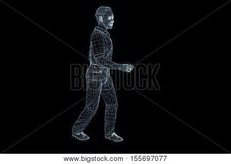 Human Wireframe Hologram in Motion. Nice 3D Rendering