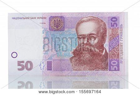 Ukrainian money UAH 50. isolated on white background.
