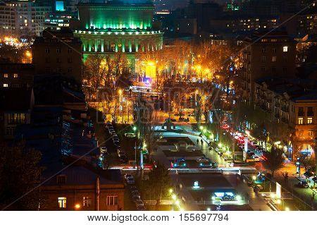 Night in Yerevan Armenia. Nightlife with people and car traffic in the capital of Armenia