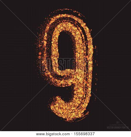 Vector grungy font 001. Number 9. Abstract bright golden shimmer glowing round particles vector background. Scatter shine tinsel light effect. Hand made grunge shape design element poster