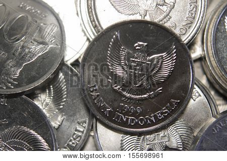 Rupiah Coins Stack Macro Close Up Payment Money