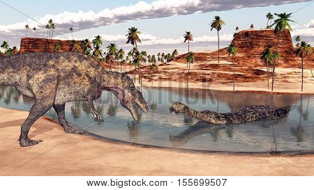 Computer generated 3D illustration with the dinosaur Acrocanthosaurus and the crocodile Sarcosuchus
