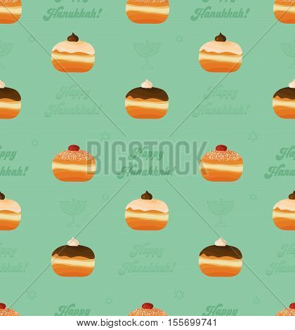 Hanukkah seamless pattern with traditional donuts and congratulation - Happy Hanukkah for Jewish Holiday of Hanukkah. Vector illustration.
