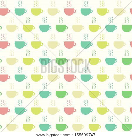Simply seamless pattern with colored cups of tea. background in flat for design