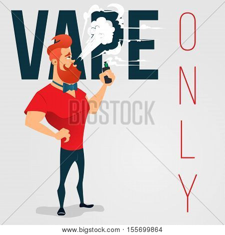 cartoon advertising background for vape store. A man with a beard smokes electronic cigarette. No smoking area