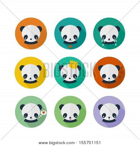 Panda icons set in flat design. Cute panda animal avatars with different emotions