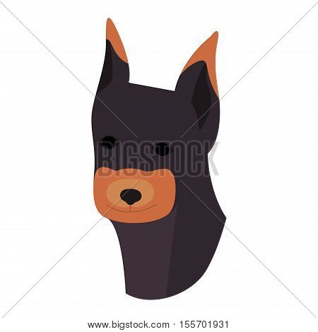 cute Doberman dog animal icon over white background. vector illustration