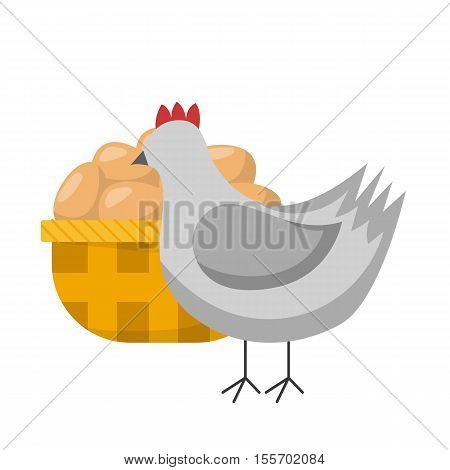 Vector Cartoon Hen Chicken And Eggs Basket
