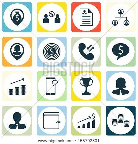 Set Of Human Resources Icons On Tournament, Coins Growth And Tree Structure Topics. Editable Vector
