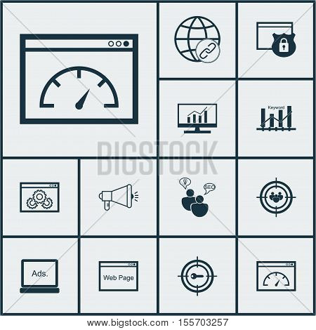 Set Of Marketing Icons On Seo Brainstorm, Market Research And Website Performance Topics. Editable V