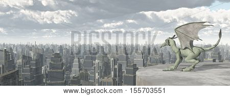 Computer generated 3D illustration with a Gargoyle over a big city