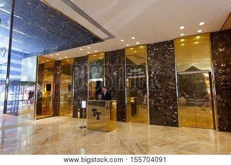 Inside Of The Trump Tower, Lifts With Employee.