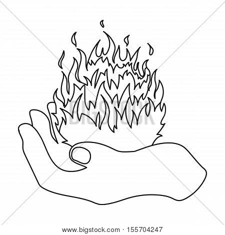 Fire spell icon in outline style isolated on white background. Black and white magic symbol vector illustration.