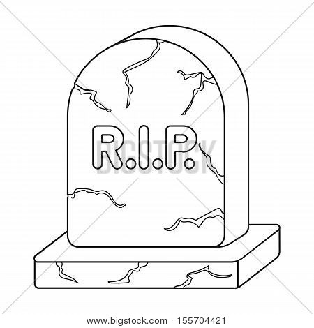 Headstone icon in outline style isolated on white background. Black and white magic symbol vector illustration.