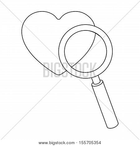 Searching a love icon in outline style isolated on white background. E-commerce symbol vector illustration.
