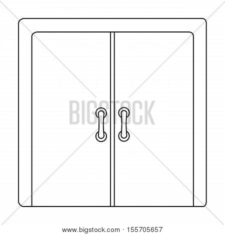 Open store icon in outline style on white background. E-commerce symbol stock vector illustration.