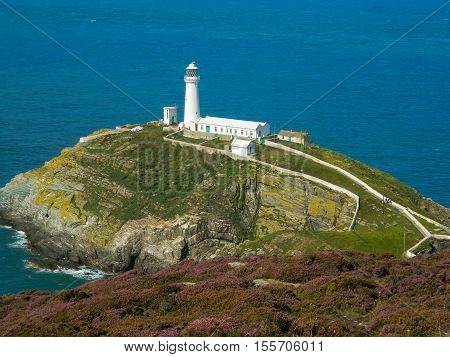 Panoramic view of South Stack Lighthouse in Anglesey, Wales, UK, GB