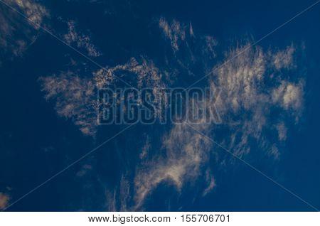 various cloud chaos. volumetric clouds at sunset