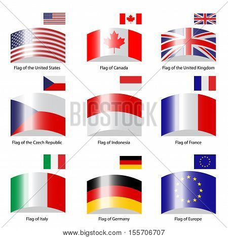 Vector deflected flags on white background - illustration