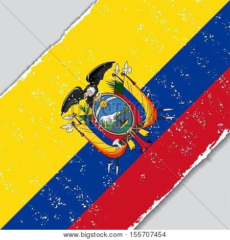 Ecuadorian grunge flag diagonal background. Vector illustration.