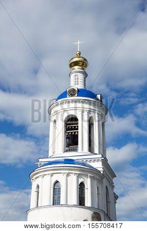 Belfry of Orthodox Holy Bogolyubovo Monastery in sunny summer day Suzdal Region Russia