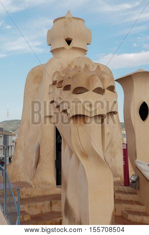 Barcelona, Spain - September 24 2016: Casa Mila La Pedrera Rooftop Chimneys.