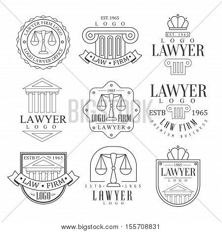 Law Firm And Lawyer Office Logo Templates With Classic Ionic Pillars, Pediments And Balance Silhouettes Set Of Black And White Signs. Vector Monochrome Emblems For Premium Class Business Service.