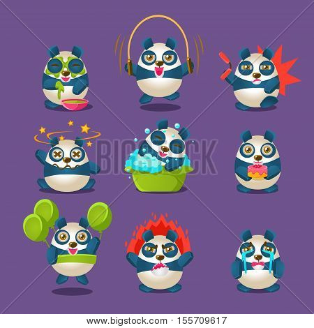 Cute Panda Emotions And Activities Collection With Humanized Cartoon Panda Character Doing Different Day-to-day Things. Colorfuk Isolated Vector Illustrations With Animal In Different Fantastic Situations Set.
