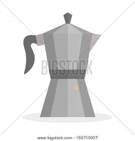Geyser coffee icon flat style. Geyser coffee icon isolated on a white background. Geyser coffee icon design element logo. Vector illustration