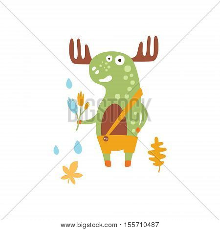 Green Moose Wearing Uellow Pants With Suspender Holding A Fallen Leaf Smiling In Autumn Standing Upright Humanized Animal Character Illustration In Funky Decorative Style. Forest Fantastic Character Flat Vector Colorful Print From Woodland Fauna Collectio
