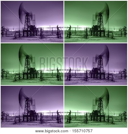 Working oil pump jack at night time. Oilfield during winter. Refinery lights background. Collage. Oil and gas concept. Toned.