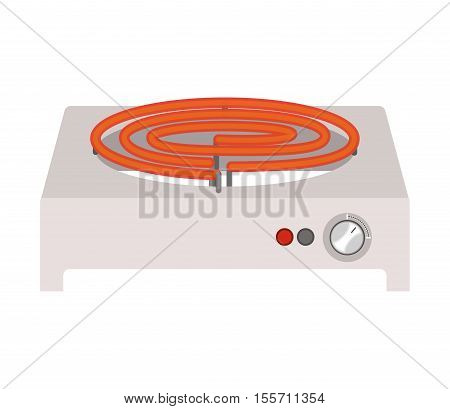 full color with electric stove mode on vector illustration