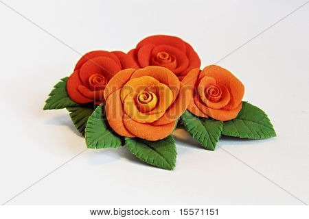 Artificial Flowers (four Big Red Roses With Green Leaves)