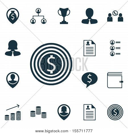 Set Of Human Resources Icons On Tournament, Business Goal And Coins Growth Topics. Editable Vector I