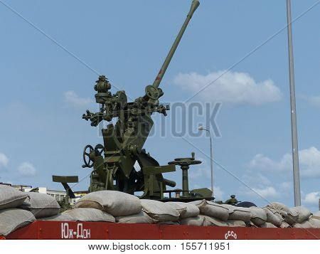 Upper Pyshma, Russia - July 2, 2016: Railway platform with 37 mm automatic anti-aircraft gun 61-K sample 1939 - museum exhibit of military hardware.