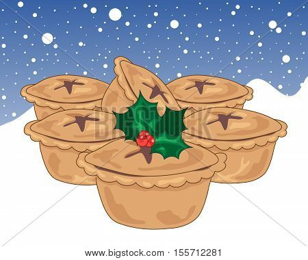 an illustration of six festive mince pies with holly decoration on a snowy white background