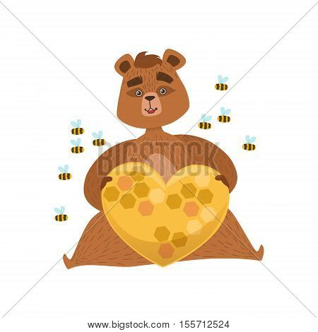 Girly Cartoon Brown Bear Character Holding Heart Shaped Beehive Surrounded By Bees Illustration. Humanized Wild Forest Animal And His Activities Childish Vector Sticker.