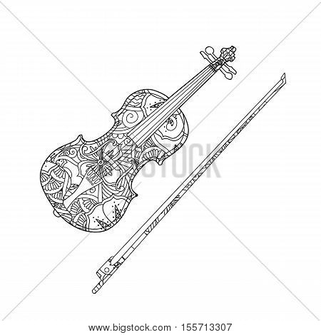 Coloring page with ornamental violin and fiddlestick isolated on white background. Coloring book for adult and children. Vector illustration.