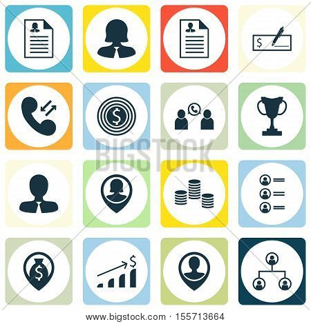 Set Of Human Resources Icons On Tree Structure, Phone Conference And Money Topics. Editable Vector I