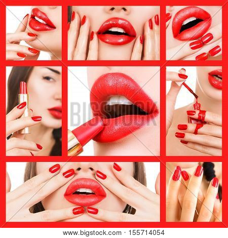 Beauty and Makeup Collage. Beauty industry (red lips and manicure). Sexy Young Beautiful Girl with Red Nails and Red lipstick. Cosmetic and glamour - bloody red lip gloss and nail polish. White background