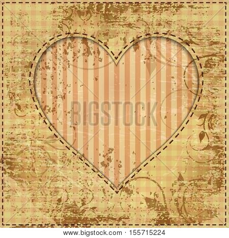 vintage wedding invitation with paper heart and cardboard texture
