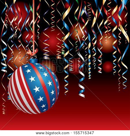 vector illustration with USA Christmas ball, patriotic background