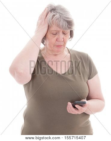 Old age woman using smart phone. All on white background.