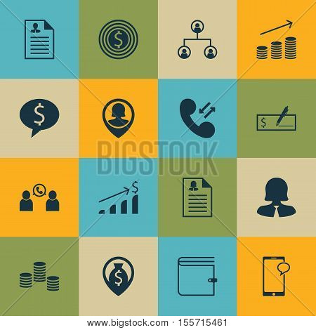 Set Of Management Icons On Wallet, Money Navigation And Tree Structure Topics. Editable Vector Illus
