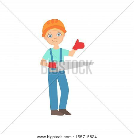 Boy In Working Gloves Holding A Saw, Kid Dressed As Builder On The Construction Site Future Dream Profession Set Illustration. Teenager In Construction Worker Uniform Wearing Hard Hat And Dungarees Cute Cartoon Vector Character.